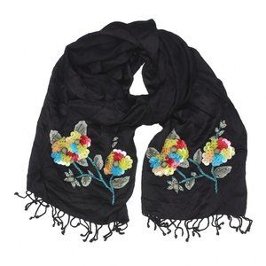 Preston & York | black scarf with sequined art